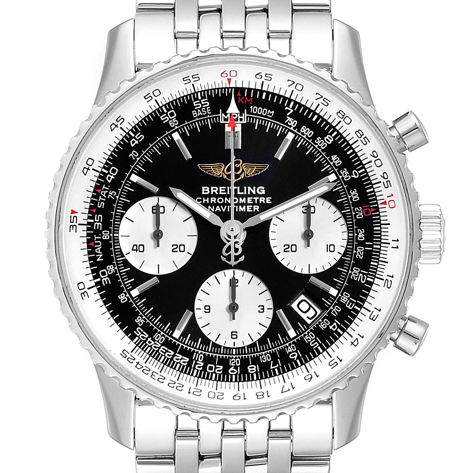 Breitling Navitimer Black Dial Steel Mens Watch A23322 Box Papers