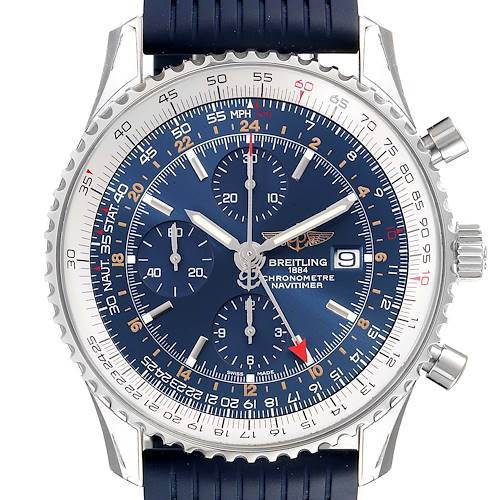 Photo of Breitling Navitimer World GMT Blue Dial Steel Watch A24322 Unworn