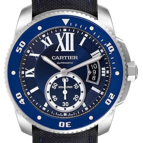 Photo of Cartier Calibre Diver Blue Dial Steel Mens Watch WSCA0011 Box Card