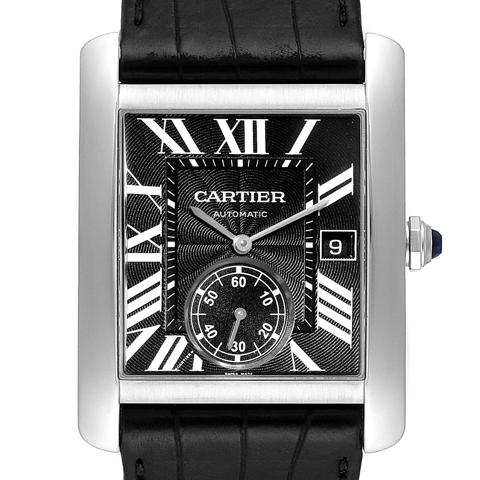 Cartier Tank MC Black Dial Automatic Mens Watch W5330004 Box Papers