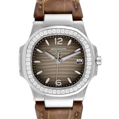 Photo of Patek Philippe Nautilus White Gold Diamond Grey Strap Ladies Watch 7010G