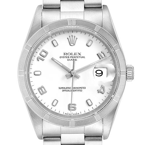 Photo of Rolex Date White Dial Engine Turned Bezel Steel Mens Watch 15210