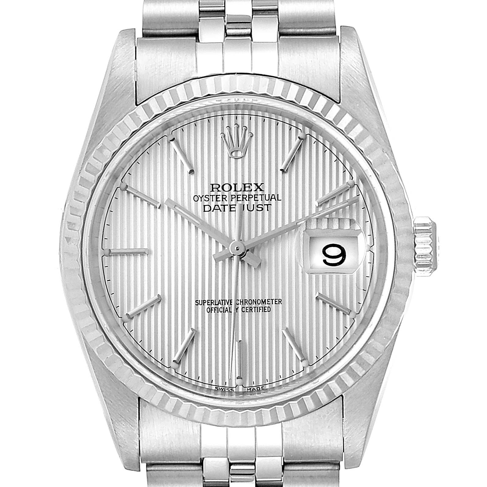 Rolex Datejust 36 Steel White Gold Tapestry Dial Mens Watch 16234 2 ADDED LINKS