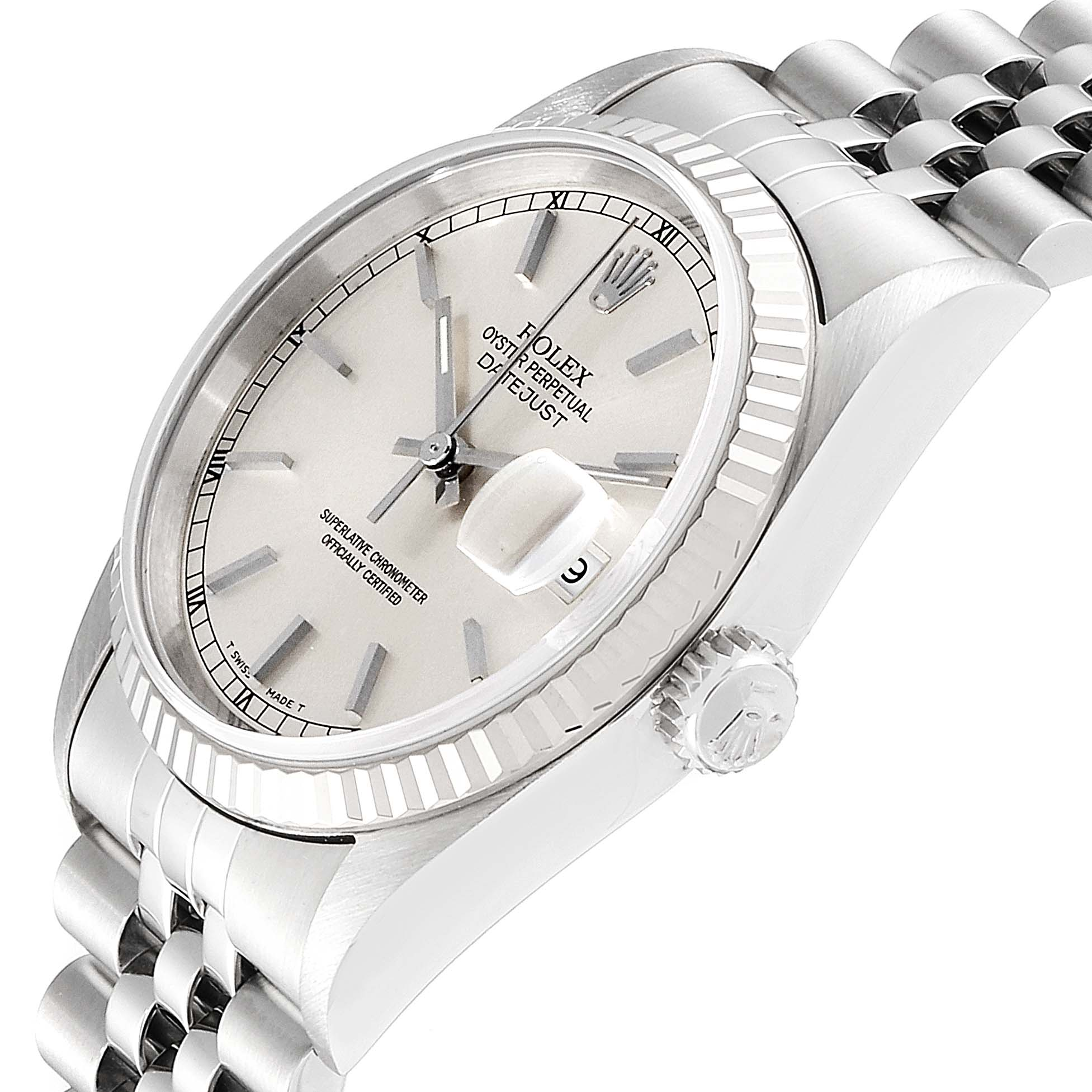 Rolex Datejust Steel White Gold Silver Baton Dial Mens Watch 16234 SwissWatchExpo
