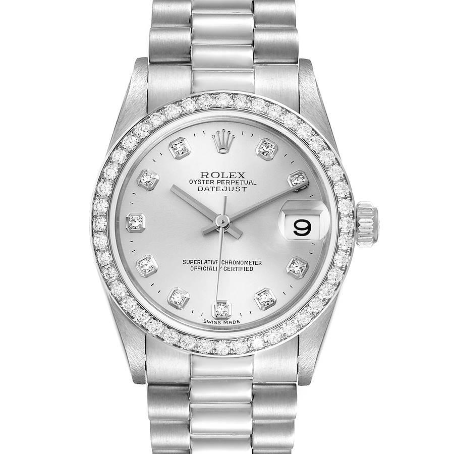 Rolex President Datejust Midsize Platinum Diamond Ladies Watch 78286 SwissWatchExpo