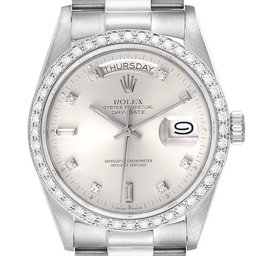 Photo of Rolex President Day-Date White Gold Diamond Dial Bezel Watch 18049