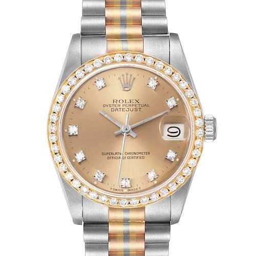 Photo of Rolex President Tridor 31mm Midsize White Yellow Rose Diamond Watch 68149