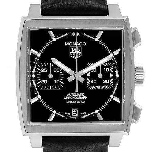Photo of Tag Heuer Monaco Black Dial Automatic Mens Watch CAW2110 Box Card