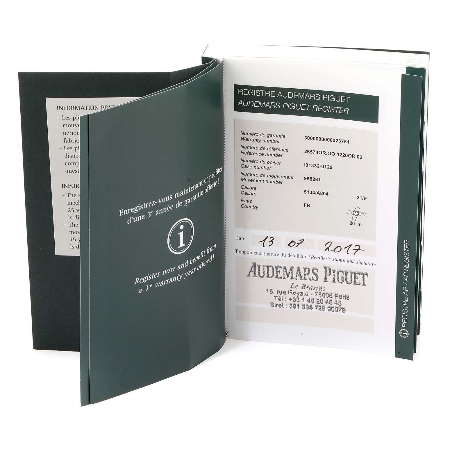 Audemars Piguet Royal Oak Perpetual Calendar Blue Dial Rose Gold Watch 26574OR SwissWatchExpo