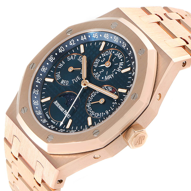 Audemars Piguet Royal Oak Perpetual Calendar Blue Dial Rose Gold Watch 26574OR SwissWatchExpo