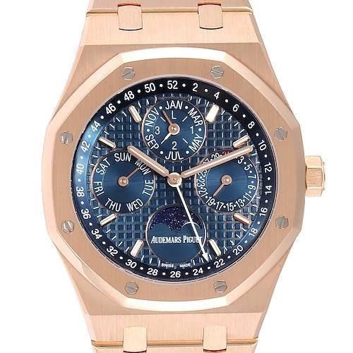 Photo of Audemars Piguet Royal Oak Perpetual Calendar Blue Dial Rose Gold Watch 26574OR