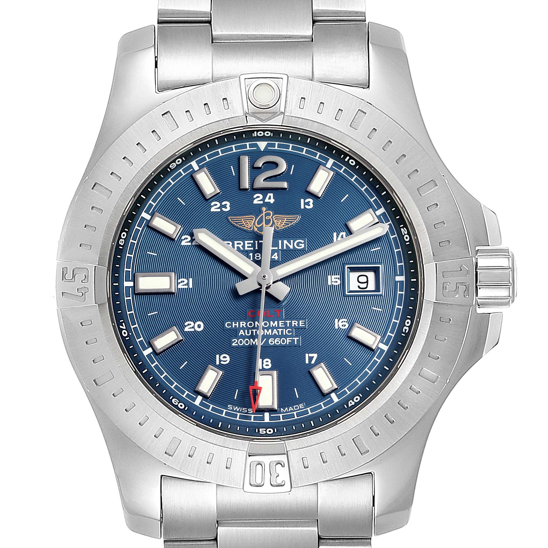 Breitling Colt Blue Dial Automatic Steel Mens Watch A17388 Box Card