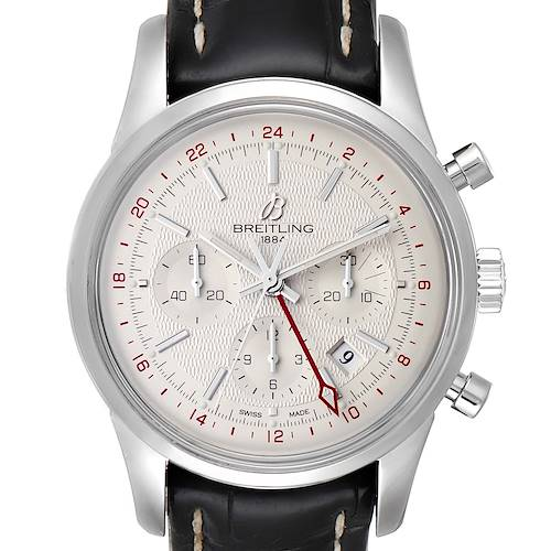 Photo of Breitling Transocean 43mm Silver Dial Steel Mens Watch AB0451 Box Papers