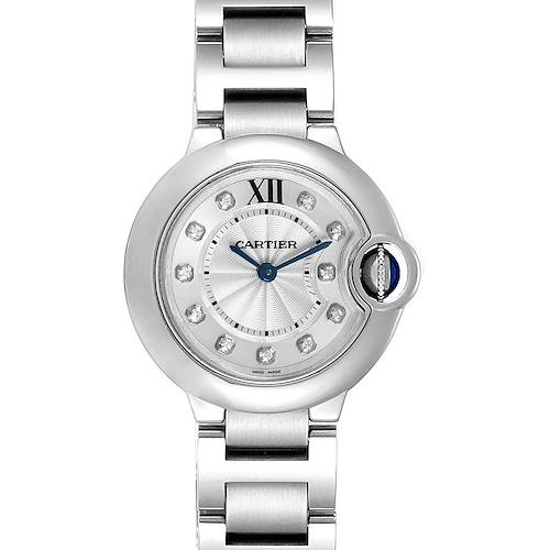 Cartier Ballon Bleu Diamond Dial Steel Ladies Watch WE902073 Box Papers