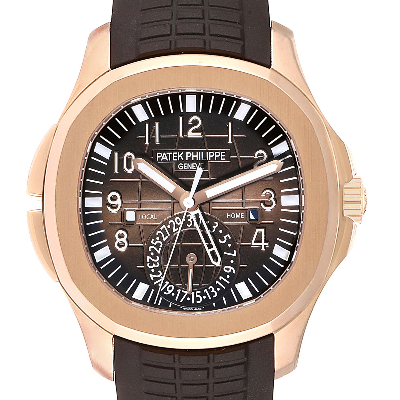 Patek Philippe Aquanaut Travel Time Rose Gold Mens Watch 5164R Box Papers SwissWatchExpo