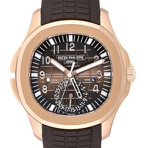 Photo of Patek Philippe Aquanaut Travel Time Rose Gold Mens Watch 5164R Box Papers