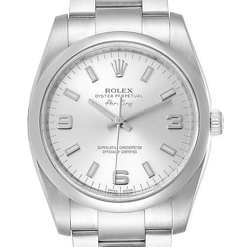 Photo of Rolex Air King 34 Silver Dial Smooth Bezel Mens Watch 114200 Box Card