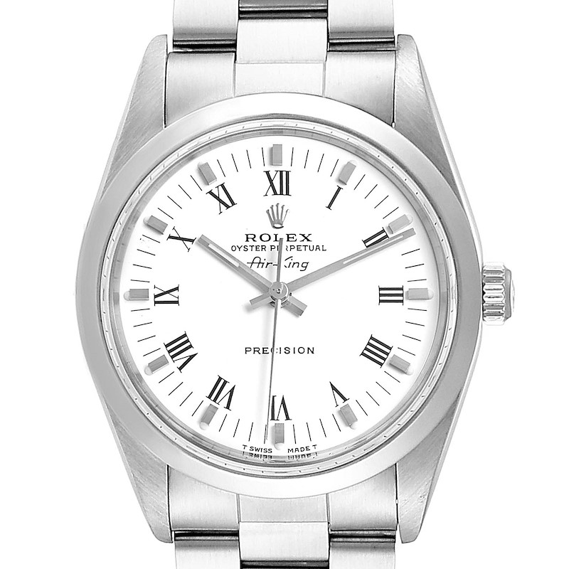 Rolex Air King 34mm White Dial Domed Bezel Mens Watch 14000 SwissWatchExpo