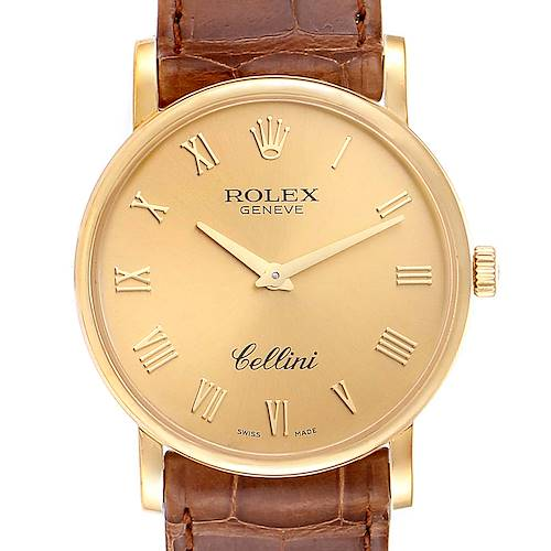 Photo of Rolex Cellini Classic 32mm Yellow Gold Brown Strap Mens Watch 5115