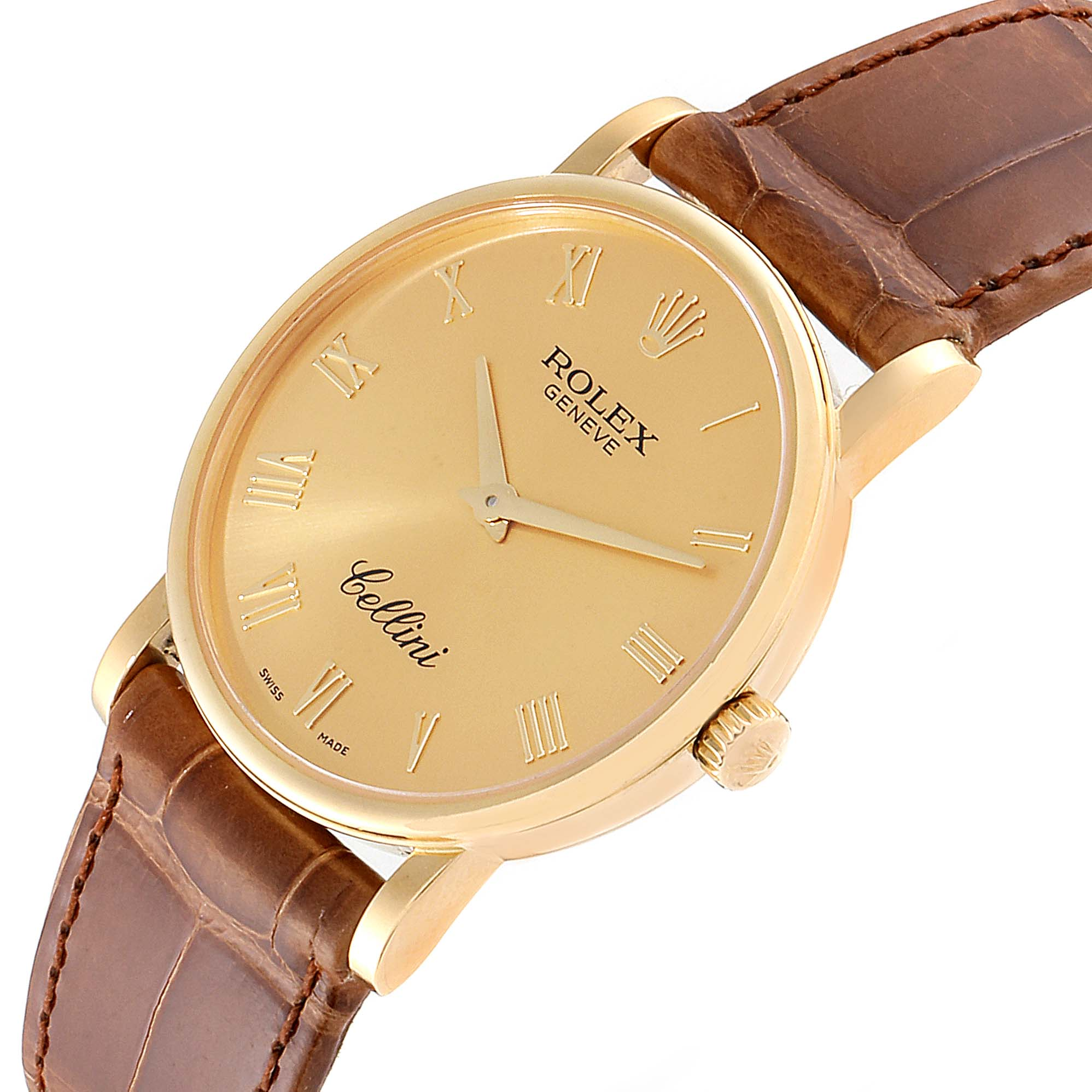 Rolex Cellini Classic 32mm Yellow Gold Brown Strap Mens Watch 5115 SwissWatchExpo