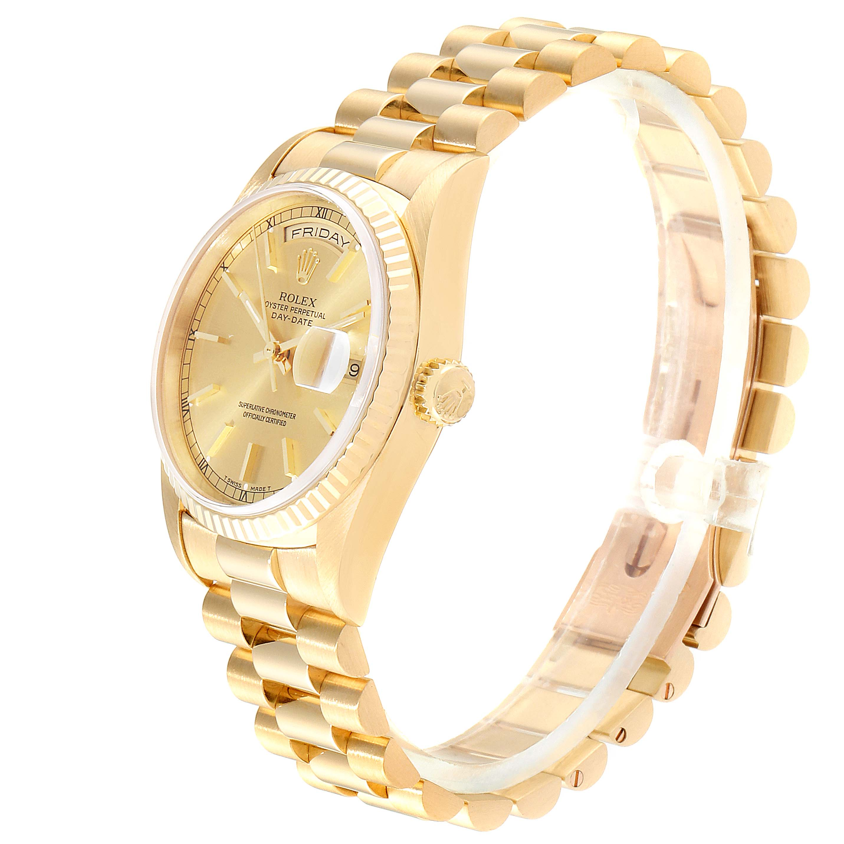 Rolex President Day-Date 36 Yellow Gold Champagne Dial Mens Watch 18238 SwissWatchExpo