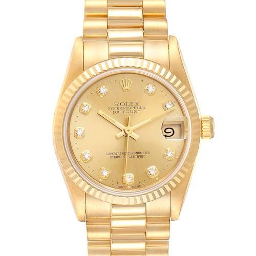 Photo of Rolex President Midsize Yellow Gold Diamond Ladies Watch 68278 Box Papers
