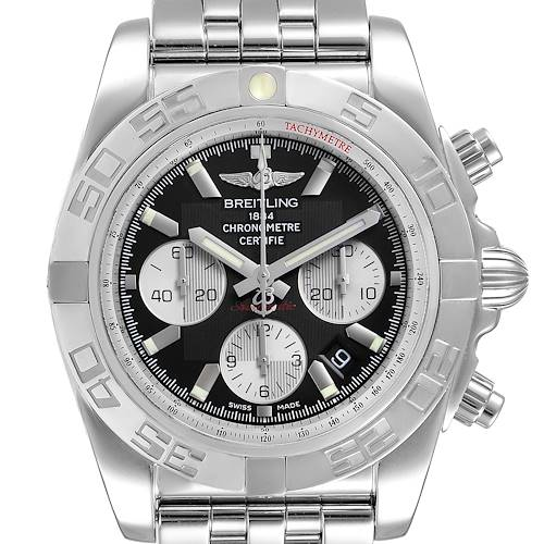 Photo of Breitling Chronomat 01 Black Dial Steel Mens Watch AB0110 Box Papers