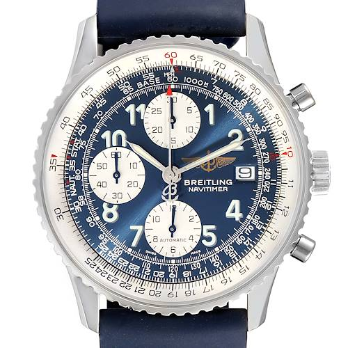 Photo of Breitling Navitimer II Blue Dial Chronograph Steel Watch A13322 Box Papers