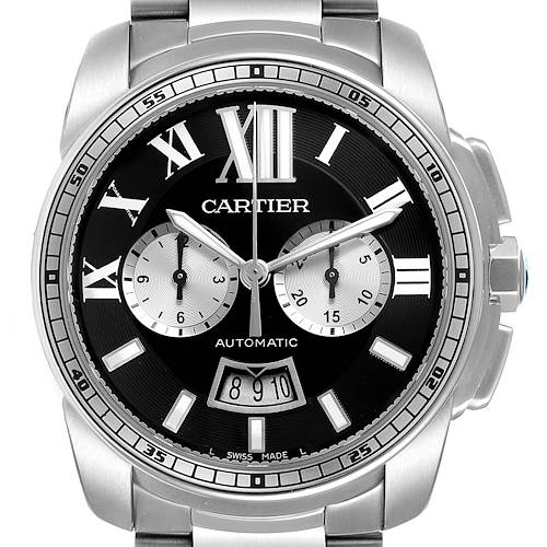 Photo of Cartier Calibre Black Dial Chronograph Steel Mens Watch W7100061 Box Papers