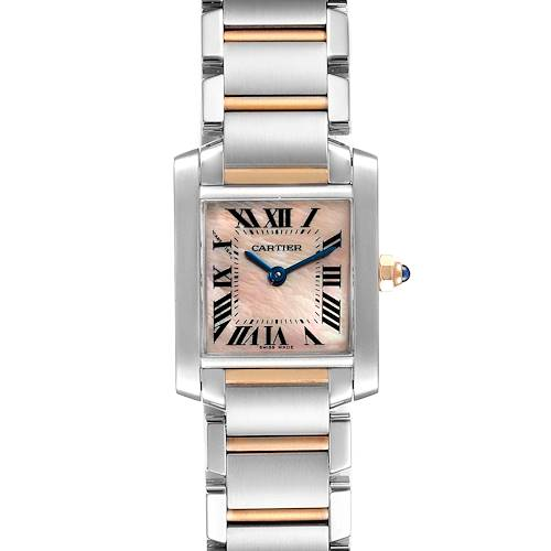 Photo of Cartier Tank Francaise Steel Rose Gold MOP Ladies Watch W51027Q4 Box Papers