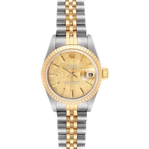 Photo of Rolex Datejust Linen Dial Steel Yellow Gold Ladies Watch 69173