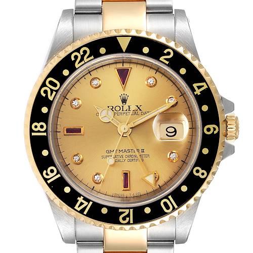 Photo of Rolex GMT II Diamond Ruby Serti Dial Steel Yellow Gold Mens Watch 16713