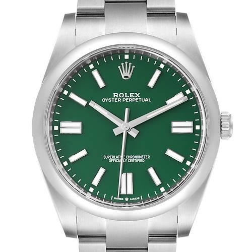 Photo of Rolex Oyster Perpetual 41mm Green Dial Steel Mens Watch 124300 Unworn