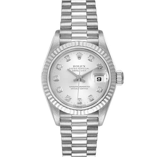 Photo of Rolex President 18K White Gold Diamond Ladies Watch 79179