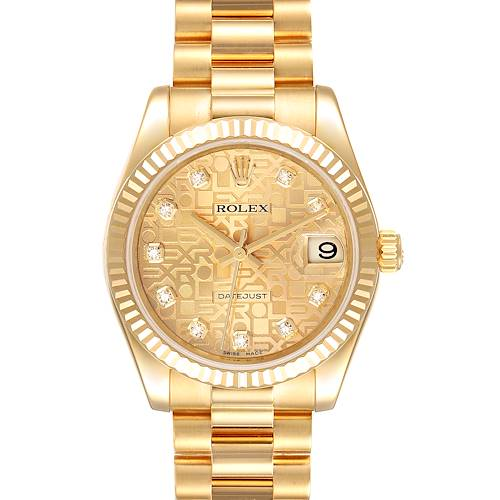 Photo of Rolex President Midsize Yellow Gold Diamond Ladies Watch 178278 Box Card