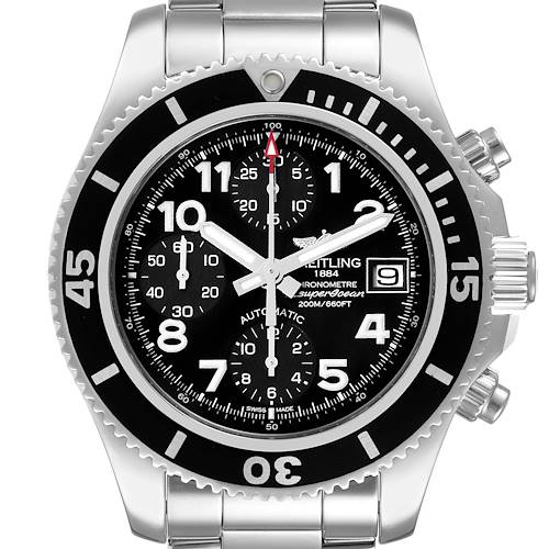 Photo of Breitling Superocean Chronograph Black Dial Mens Watch A13311 Box Papers