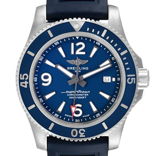 Photo of Breitling Superocean II Blue Dial Steel Mens Watch A17365 Box Card