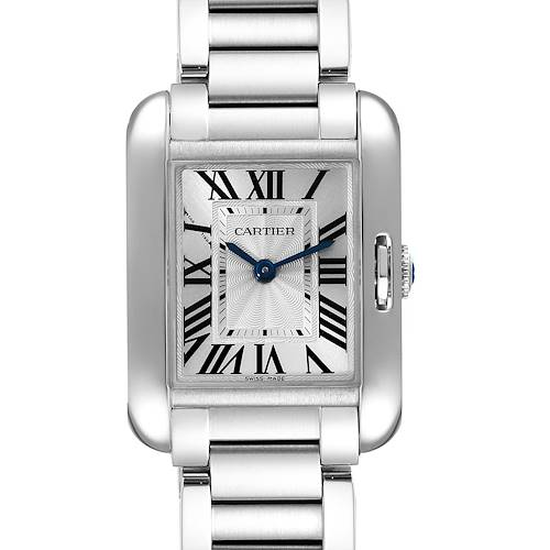 Photo of Cartier Tank Anglaise Small Silver Dial Steel Ladies Watch W5310022 Box Papers