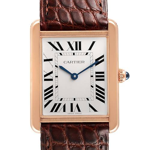 Photo of Cartier Tank Solo Rose Gold Steel Brown Strap Large Watch W5200025 Box Card