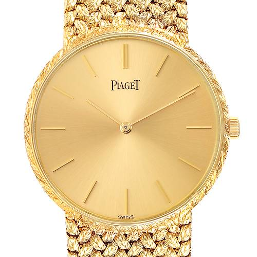 Photo of Piaget 18k Yellow Gold Champagne Dial Vintage Mens Watch 9065