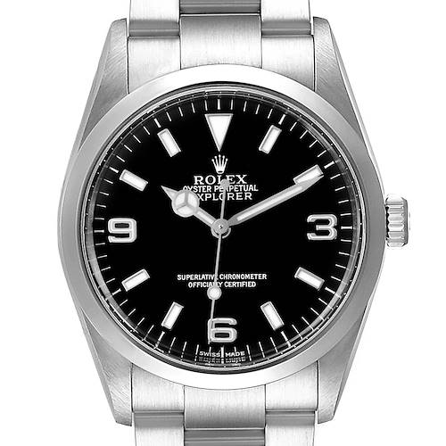 Photo of Rolex Explorer I Black Dial Steel Mens Watch 114270 Box Papers