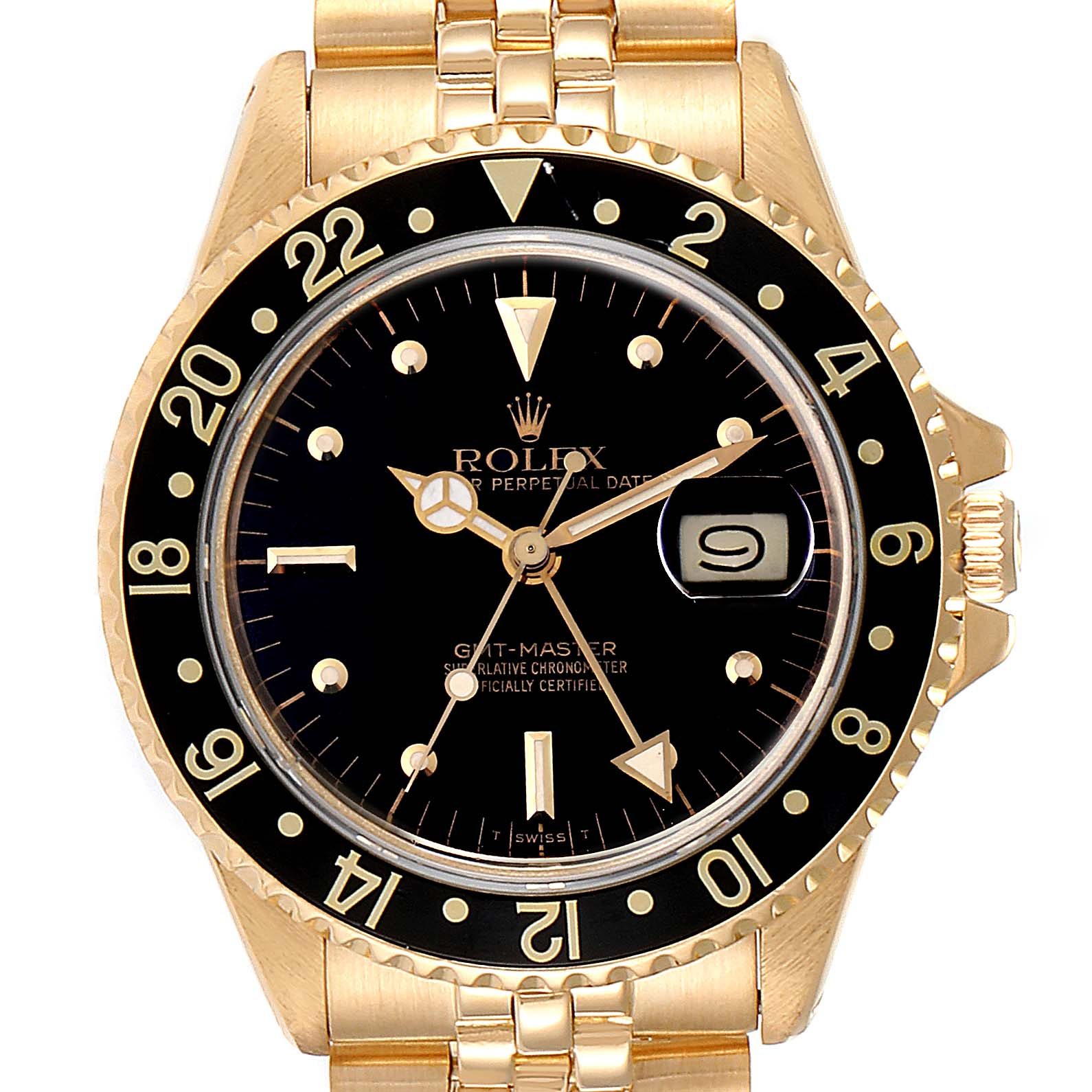 Rolex GMT Master Transitional 18k Yellow Gold Mens Watch 16758