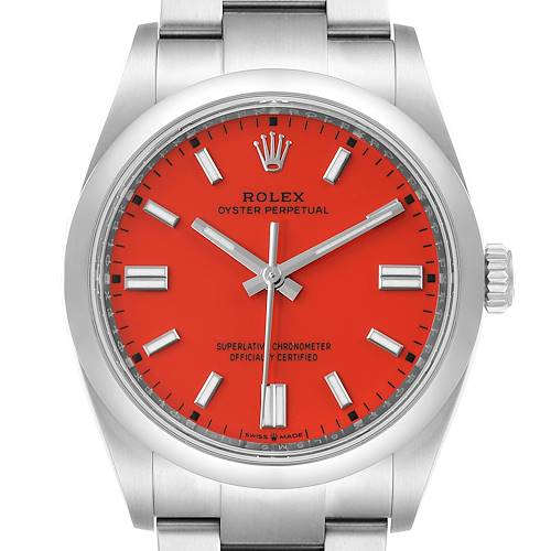Photo of Rolex Oyster Perpetual Coral Red Dial Steel Mens Watch 126000 Unworn