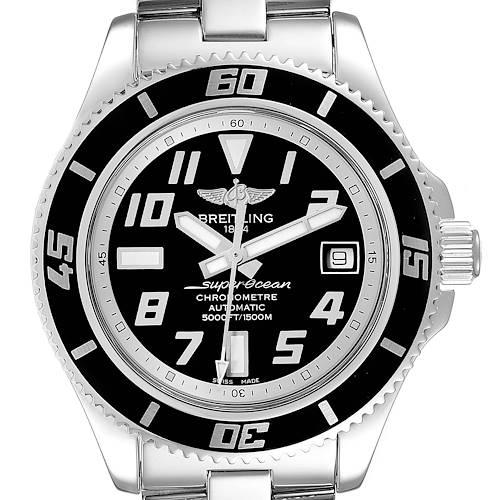 Photo of Breitling Superocean 42 Abyss Black Silver Steel Mens Watch A17364 Box Papers