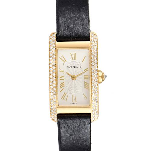 Photo of Cartier Tank Americaine Yellow Gold Diamond Black Strap Ladies Watch 1710