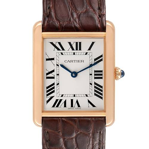 Photo of Cartier Tank Solo Rose Gold Steel Brown Strap Large Watch W5200025 Box Papers