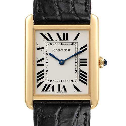 Photo of Cartier Tank Solo Yellow Gold Steel Black Strap Large Watch W5200004 Box Papers