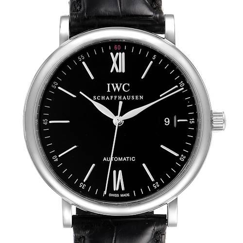 Photo of IWC Portofino Black Dial Automatic Steel Mens Watch IW356502 Box Card