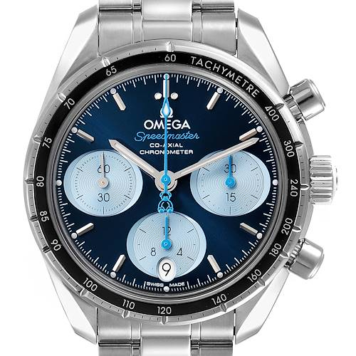 Photo of Omega Speedmaster 38 Orbis Blue Dial Mens Watch 324.30.38.50.03.002 Box Card