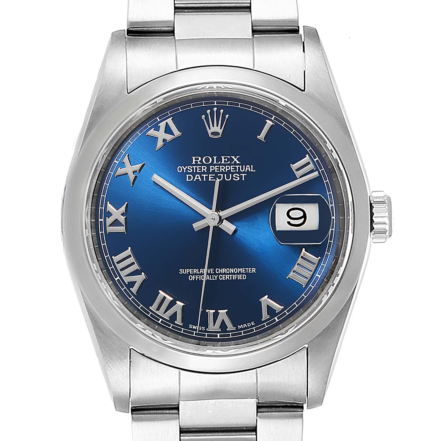 Rolex Datejust 36 Blue Dial Oyster Bracelet Steel Mens Watch 16200